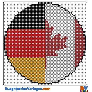 Bügelperlen Vorlage Flagge Kanada-Deutschland
