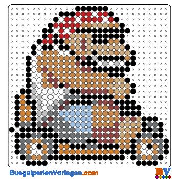 Bügelperlen Vorlage Funky Kong von Mario Kart