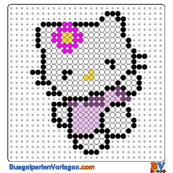 Bügelperlen Vorlagen von Hello Kitty mit Blumme zum Herunterladen ...