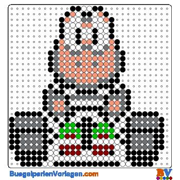 Bügelperlen Vorlage Koopa von Mario Kart