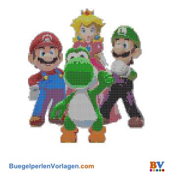 Bügelperlen Vorlage Mario und Co