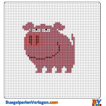 Bügelperlen Vorlage Schwein