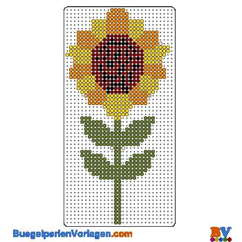 Bügelperlen Vorlage Sonnenblume