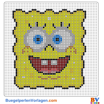 Bügelperlen Vorlage SpongeBob Portrait