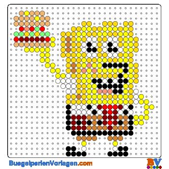 Bügelperlen Vorlage SpongeBob mit Hamburger