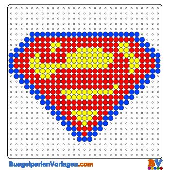Bügelperlen Vorlage Superman Schild