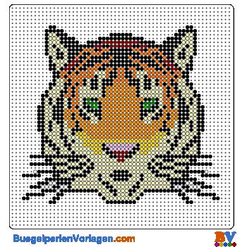 Bügelperlen Vorlage Tigerkopf