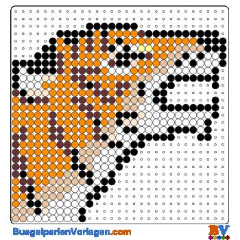 Bügelperlen Vorlage Tigerkopf klein