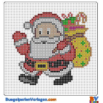 Bügelperlen Vorlage Weihnachtsmann